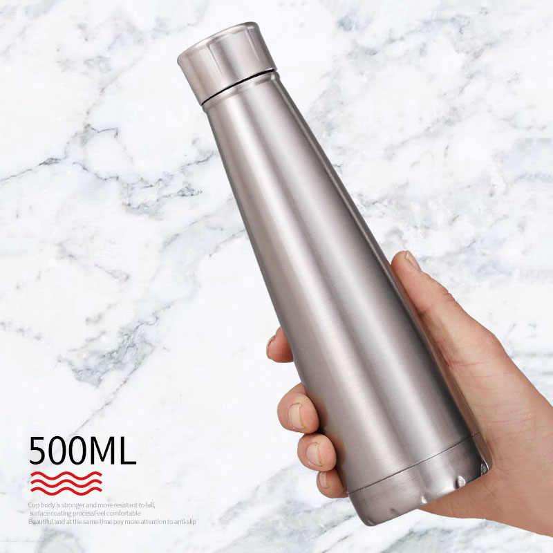 500ml Conical Thermos Double Wall Stainless Steel Coffee Milk Beer Cola Chilly Bottle Portable Travel Vacuum Flask
