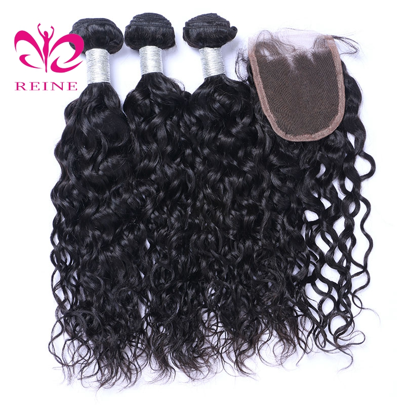 Brazilian hair water wave 100% Human Hair tree Bundles with closure NATURAL COLOR non-remy Weaves REINE free shipping