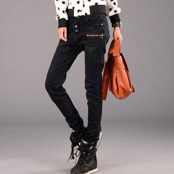 New 2017 Korean Fashion Jeans Woman Casual Loose Harem Pants Slim Denim Jeans Women Plus Size Trousers 2017 new korean casual cat embroidery loose jeans pants