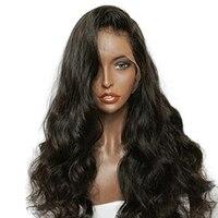 250 Плотность 13x6 свободная волна Синтетические волосы на кружеве человеческих волос парики для черный Для женщин для волос предварительно с