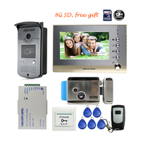 Free Shipping BRAND 7 Color Screen Video Intercom Door Phone Record Kit RFID Reader Access Doorbell