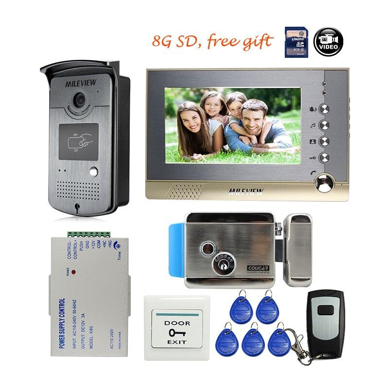 MILEVIEW 7 couleur Écran Fiche Interphone Vidéo Porte Téléphone Kit + RFID Accès Sonnette Caméra + 8G SD serrure Électrique Livraison gratuite