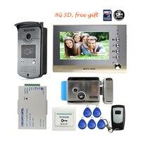 Free Shipping BRAND 7 Color Screen Video Intercom Door Phone Record Kit RFID Reader Access Doorbell