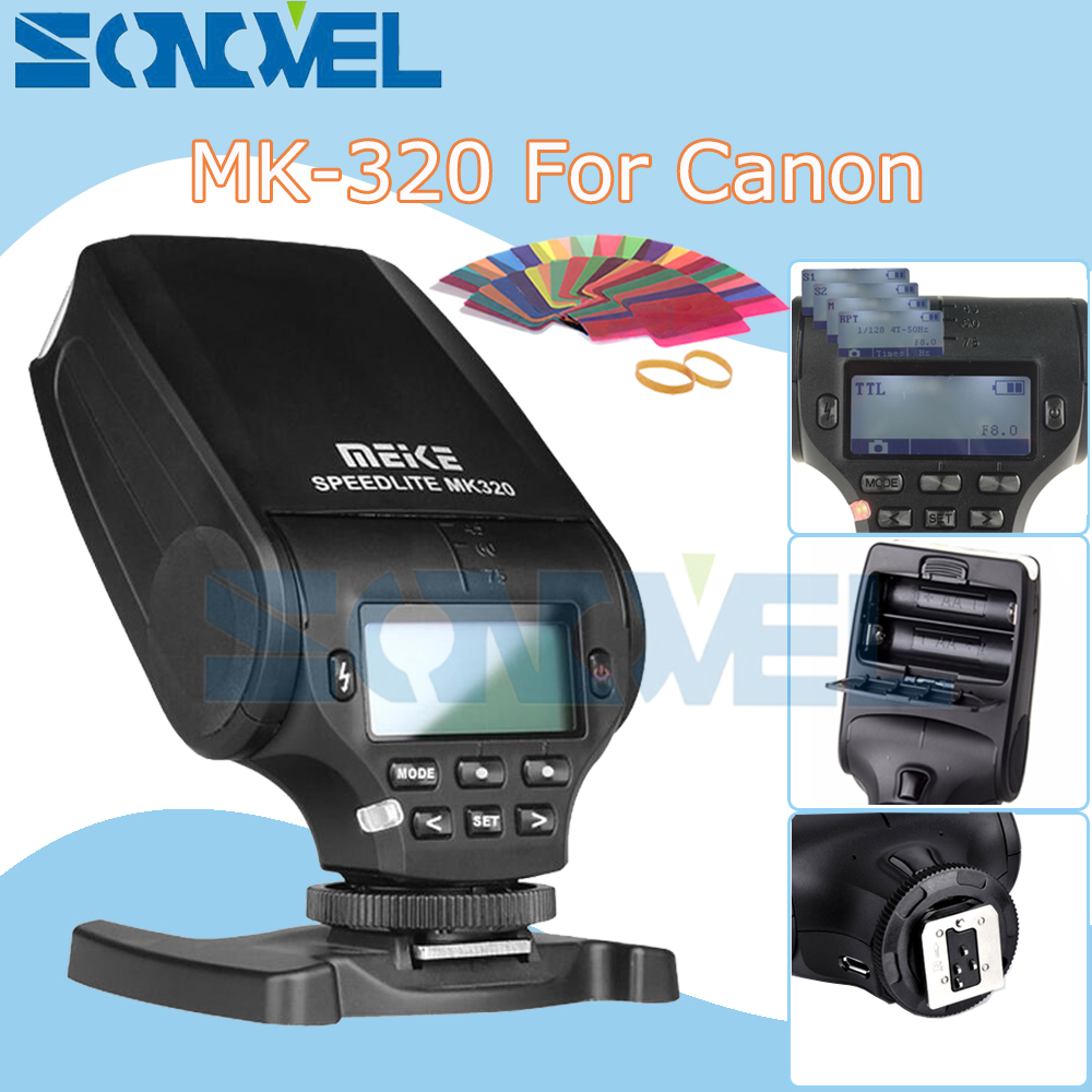 Meike MK320 MK-320 GN32 TTL Flash Speedlite for Canon EOS M3 M5 M6 1300D 800D 760D 750D 77D PowerShot G15 G16 GX5 G3X G1X SX60 mini flash light meike mk320 mk 320 mk320 c gn32 ettl speedlite for can 60d 7d 6d 70d dslr