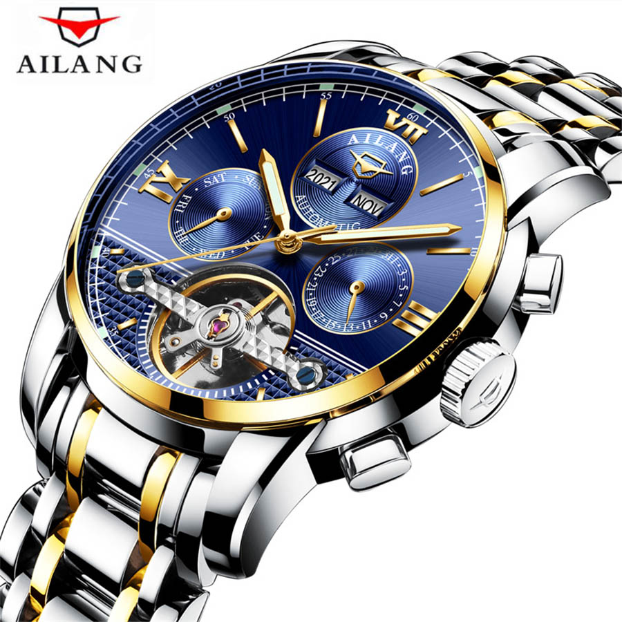 цены New AILANG Brand Watch Men Top Luxury Automatic Mechanical Watch Men Stainless Steel Clock Business Watches Relogio Masculino