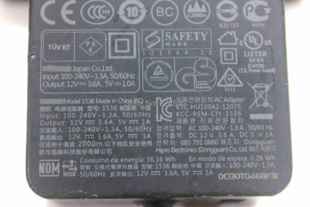 ĐƯỢC SỬ DỤNG Ban Đầu AC Adapter Sạc Mô Hình 1536 Đối Với Microsoft Bề Mặt 2 SURFACE RT SURFACE Pro 1 2