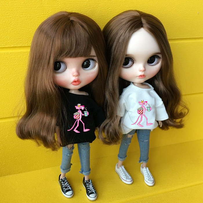2pcs/set 1/6 Doll Clothing White T-shirt+jeans For Blyth Clothes Doll Clothes Accessories For 30cm Dolls Pullip Outfit For Barbi