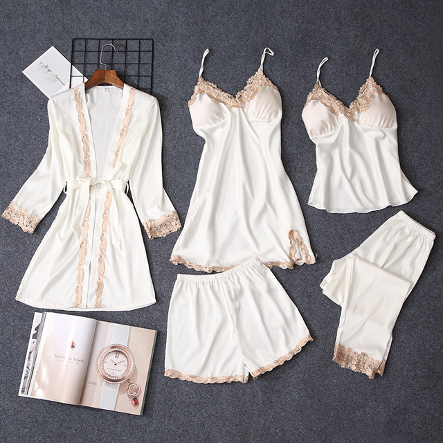 eb11bd13ab15 Pajamas Sets Women Pajamas 5pcs Set Nightgown Silk Like Sleepwear For Women  Robes Babydolls Women Pajamas