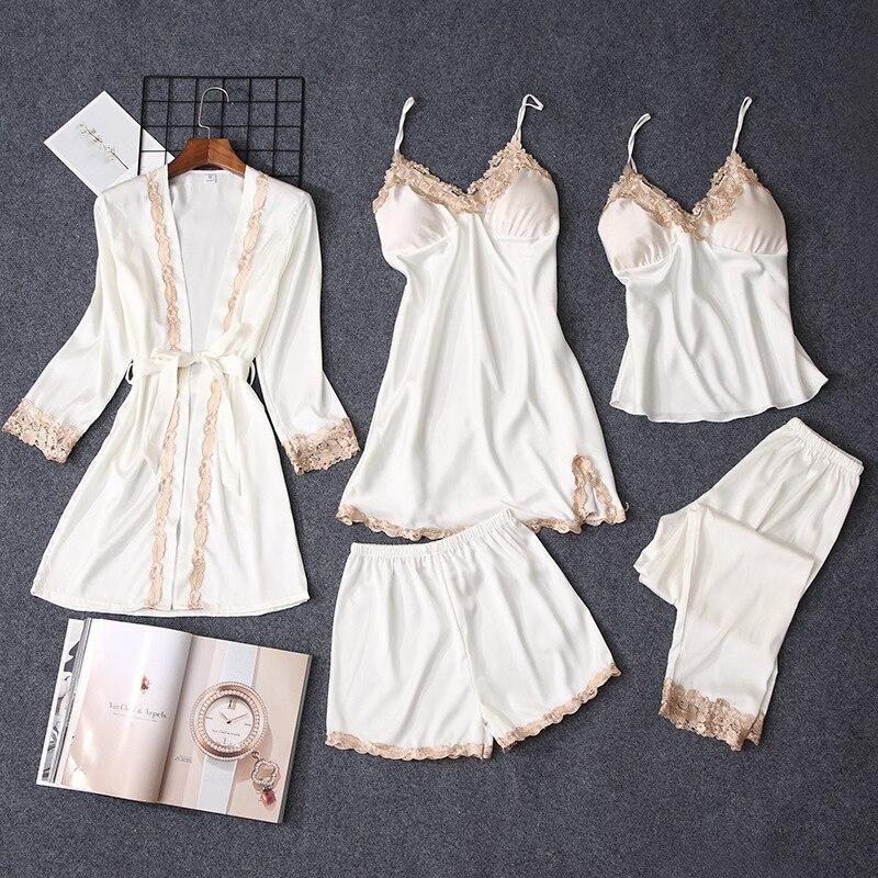 Pajama     Sets   Women   pajamas   nightgown Silk like sleepwear for women Robes babydolls women   pajamas     set   5pcs/  set     pajamas   lingerie