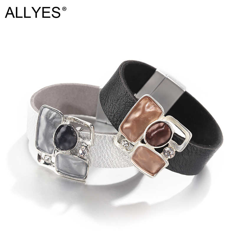 ALLYES Square Alloy Leather Bracelets Women Jewelry 2019 Fashion Ladies Bohemian Metal Charm Multilayer Wide Wrap Bracelet