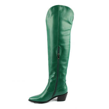 Perixir Fashion Embossed Women Knee High Boots Pointed Toe Western Cowboy Boots Women Mid-calf Chunky Wedges Boots Runway
