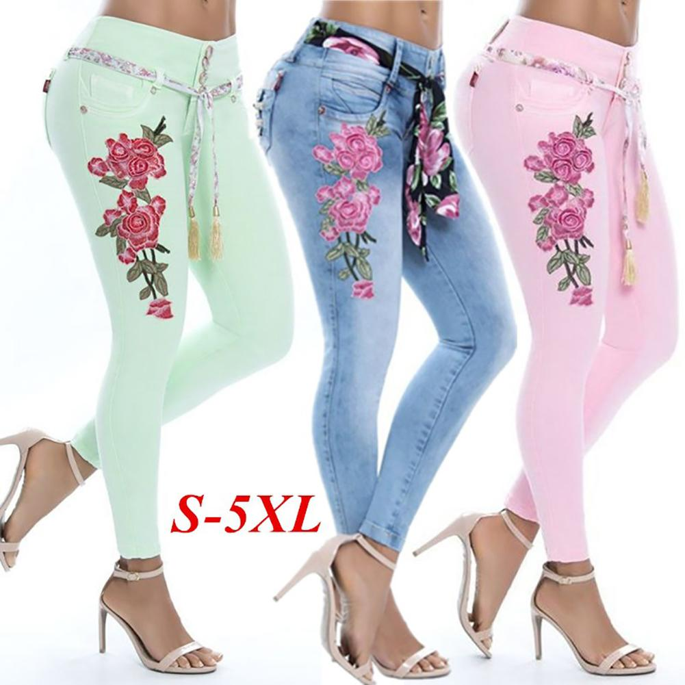 Fashion Embroidery Flower Elastic Skinny   Jeans   Women Long Pencil Pants Trousers
