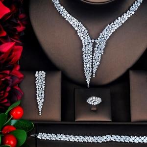 Image 2 - HIBRIDE الفاخرة تصميم AAA مكعب الزركون طقم مجوهرات الزفاف جودة عالية بريليانت موضة الخطوبة مجموعة N 674
