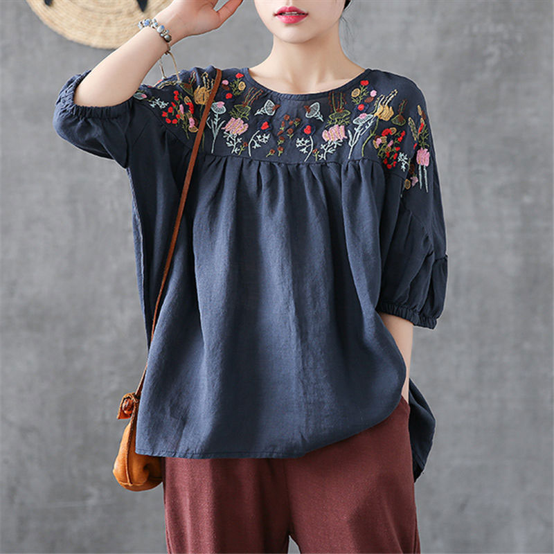 F&je New Summer Cotton Linen Tops Plus Size Floral Embroidery Vintage Loose Casual Tshirt Lady O neck Short Sleeve Tee Shirt P13-in T-Shirts from Women's Clothing on AliExpress - 11.11_Double 11_Singles' Day 1