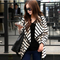 GZDL New Spring Autumn Coat Ladies Long Sleeve Striped Lapel Casual Loose Female Cardigan Coat Women Jacket Poncho Cape CL0521