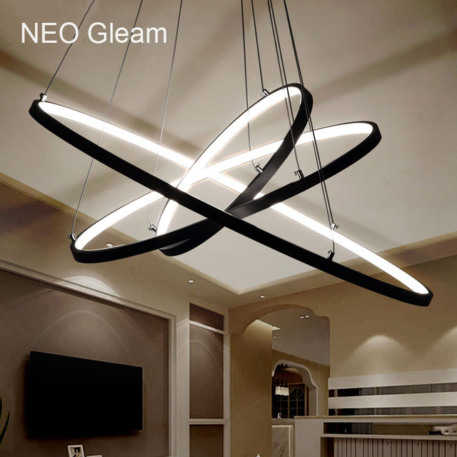 NEO Gleam Modern Acrylic chandelier LED circle rings hanging ...