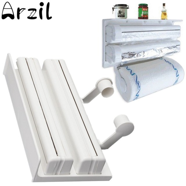 Cling Film Storage Rack Refrigerator Shelf Plastic Cutting Device Wall Hanging Paper Towel Holder Kitchen