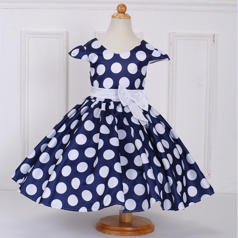 Dress baby girl dot dress princess girls bow dress kids clothes dot navy red pink party dresses 2017 new children clothing