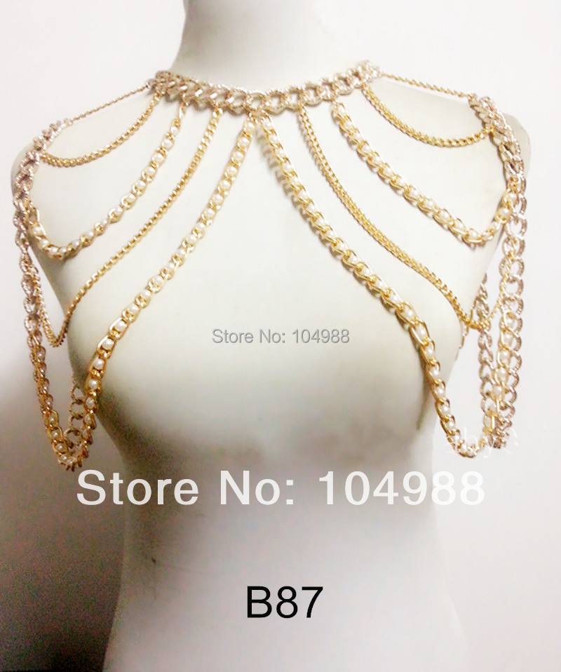 FREE SHIPPING B87 Fashion Body Punk Pearl Gold Tone Chains Shoulder Jewelry Harness Body Chains Jewelry