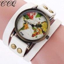 Ccq marca moda mujer colorido mapa del mundo reloj de las mujeres ocasionales quartzwatch estilo vintage de cuero genuino reloj de pulsera c90