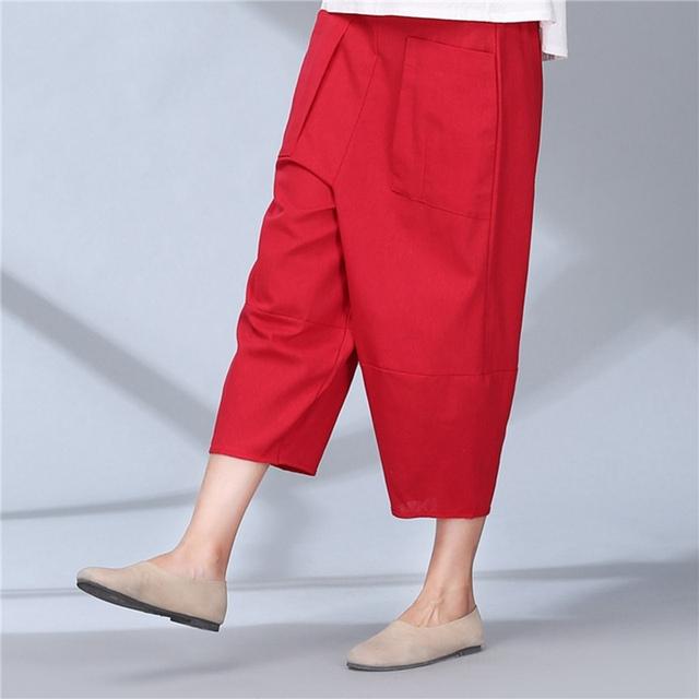 Mulheres metade da panturrilha comprimento calças de linho largas calças perna cintura elástica calças primavera verão calças soltas sólidos para as mulheres plus size A1
