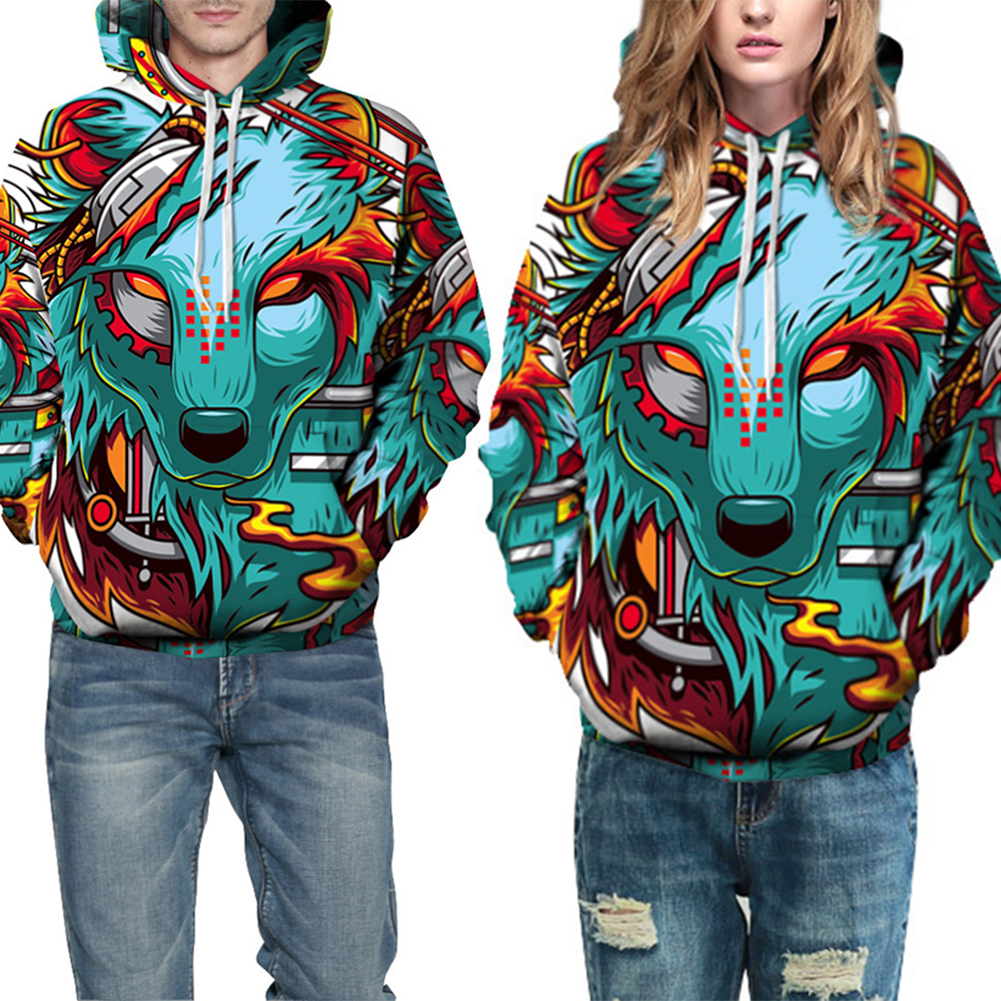 Fashion Men Women Colorful Print Wolf Hooded Sweatshirt Casual Hoodie Pullover