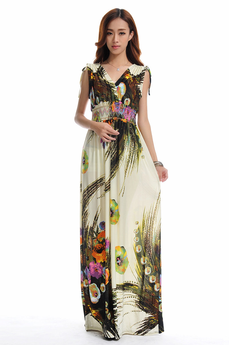 New Summer Boho V Neck Long Dresses Casual Dress Printed Bohemian Style Feminine Sleeveless