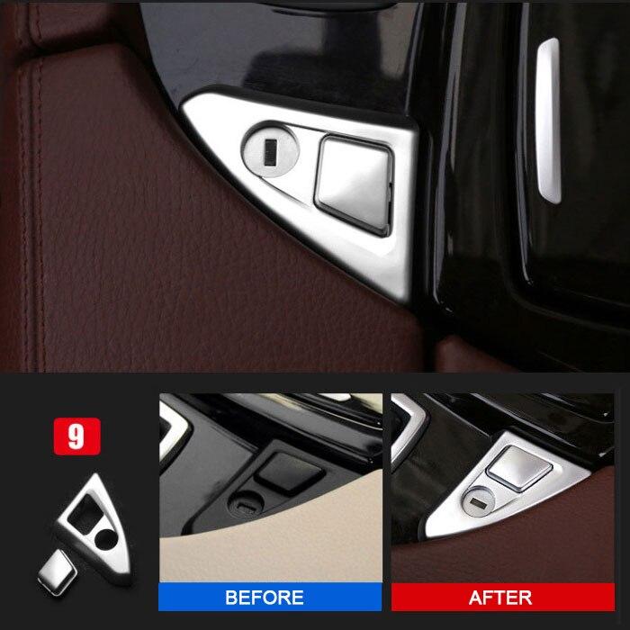 Estilo do carro ABS Chrome Interior Center Console Apoio de Braço Tampa Do Botão Guarnição Adesivos para BMW série 5 F10 F18 525 528