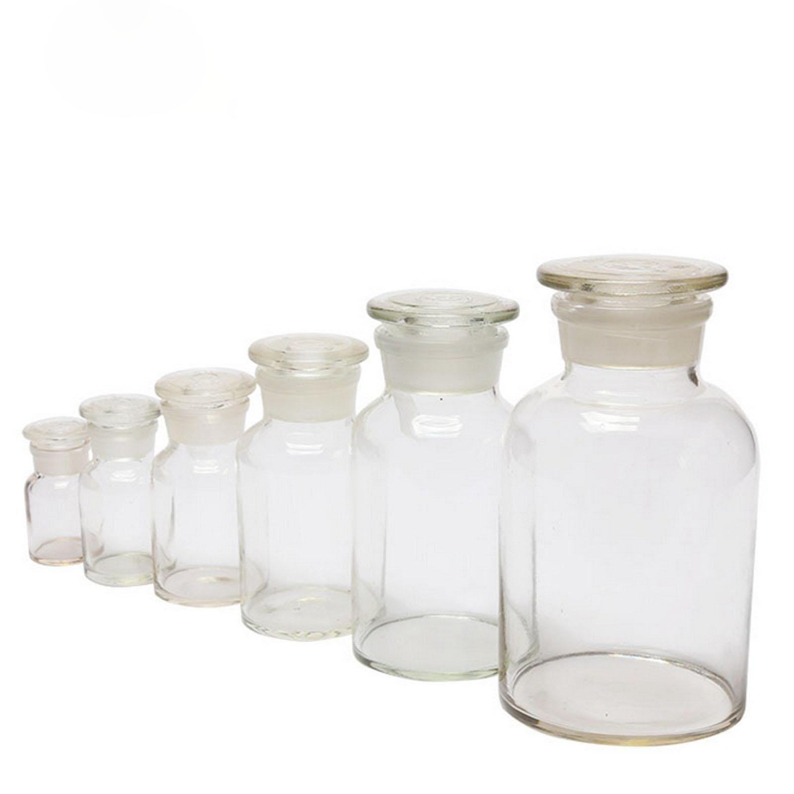 60ml 125ml 250ml 500ml 1000ml 2500ml Clear Glass Jar Wide Mouthed Reagent Bottle Chemical Experiment Ware