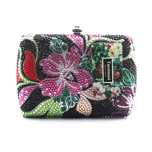 d58b20299 ᑐMujeres Flor de noche bolso de mano cristal vestido embrague ...