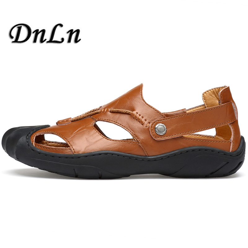Men Cow Leather Sandals Outdoor 2018 Summer Handmade Men Shoes Men Breathable Casual Shoes Footwear Walking Sandals D50