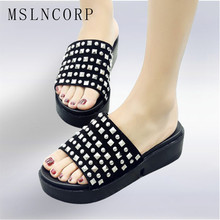 size 34-44 Fashion Summer Women Slippers Flat Casual Shoes Slip On Slides Beach Sandals Fashion Rivet Slipper Zapatillas Mujer rimocy red ball bottom cool rivet summer slides women fashion strange heels slip on sandals casual outdoor slippers shoes woman