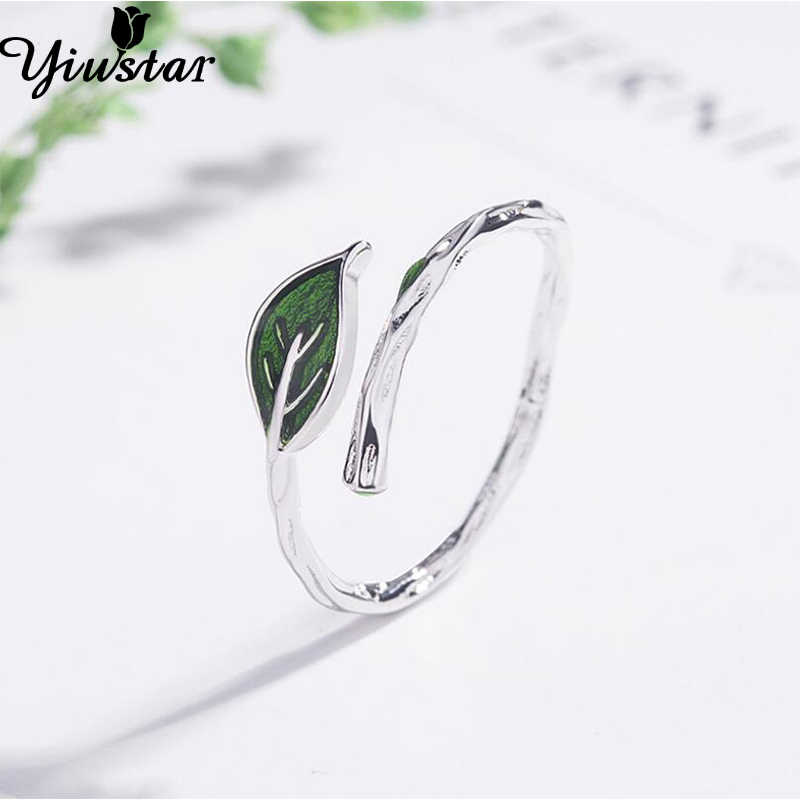 Yiustar Leaf Rings for Women Lovely Green Leaf Open Ring for Girls Cute Finger Rings for Lady Wedding Aniversary Jewelry Anel