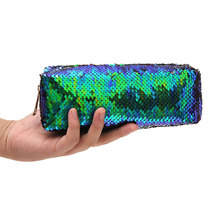 Large Capacity Zipper Reversible Sequin Pencil Case Pen Bag Girl Makeup Storage Bag Office School Organizer Stationery Supplies недорого