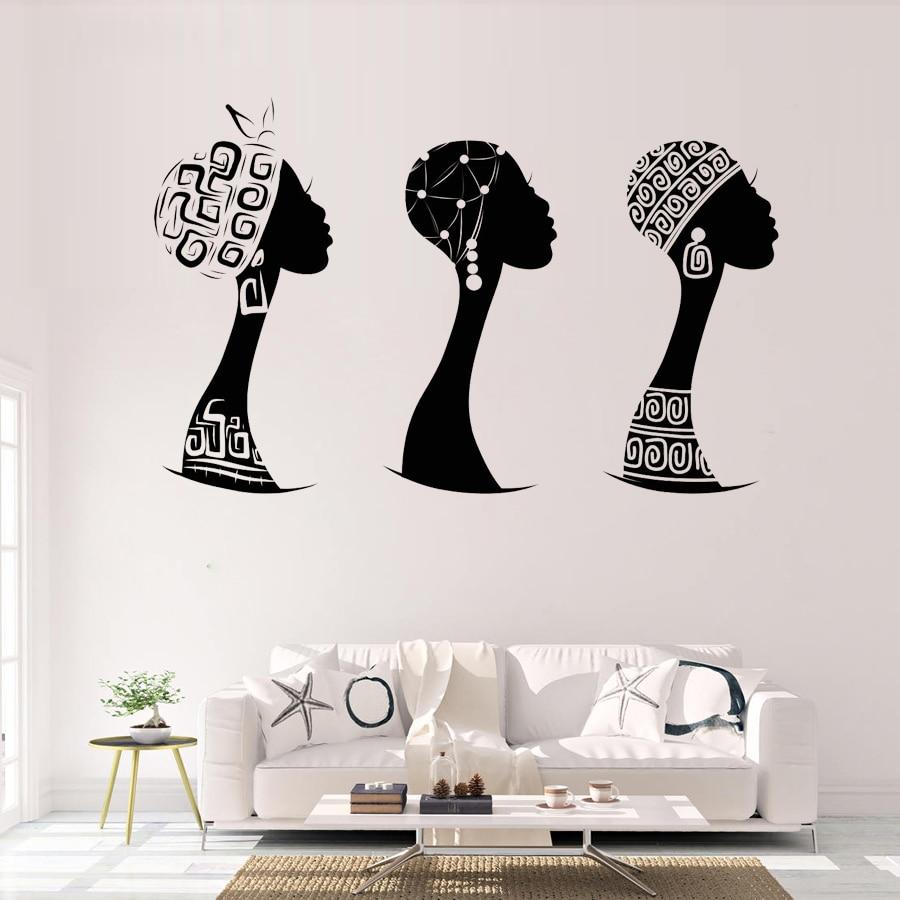 Afrikanische Frau Profil Vinyl Wand Aufkleber Wohnkultur Wohnzimmer Schwarz Frau Silhouette Wand Decals Removable Decals Wandbild S462