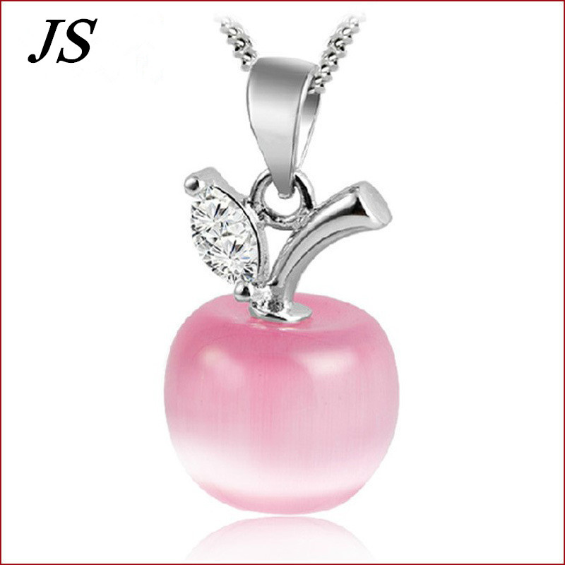 JS White Red Apple Necklace Silver Plated Neckless Women Simple Collier Argent Lovely Bijoux Jewelry 2016 New SN001