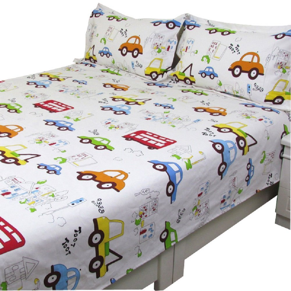 WINLIFE Cartoon Kids Duvet Cover Cars Bed Cover Cars Print