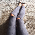Spring Fashion Women Cotton Leggings Skinny Slim Stretchy Pencil Pants Sexy Knee Zipper Ripped Holes Personality Trousers 95Z