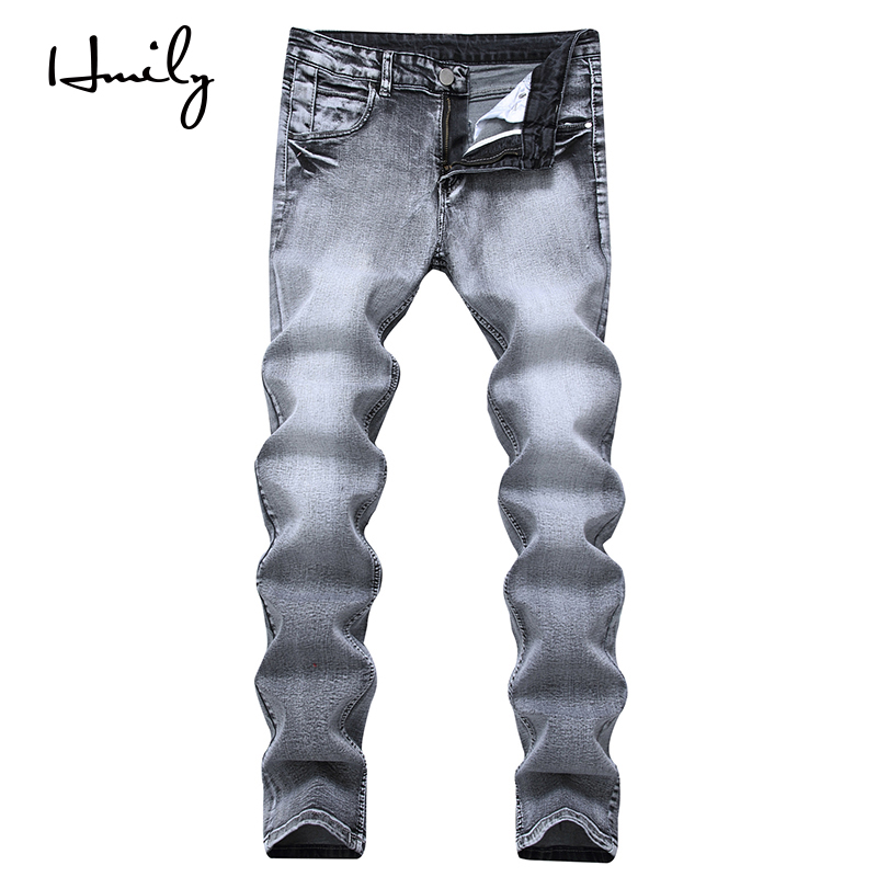 HMILY High Quality Retro Men Jeans Straight Pants Spring Summer Casual Loose Pants Brand Biker Jeans Big Size Grey Male Jeans