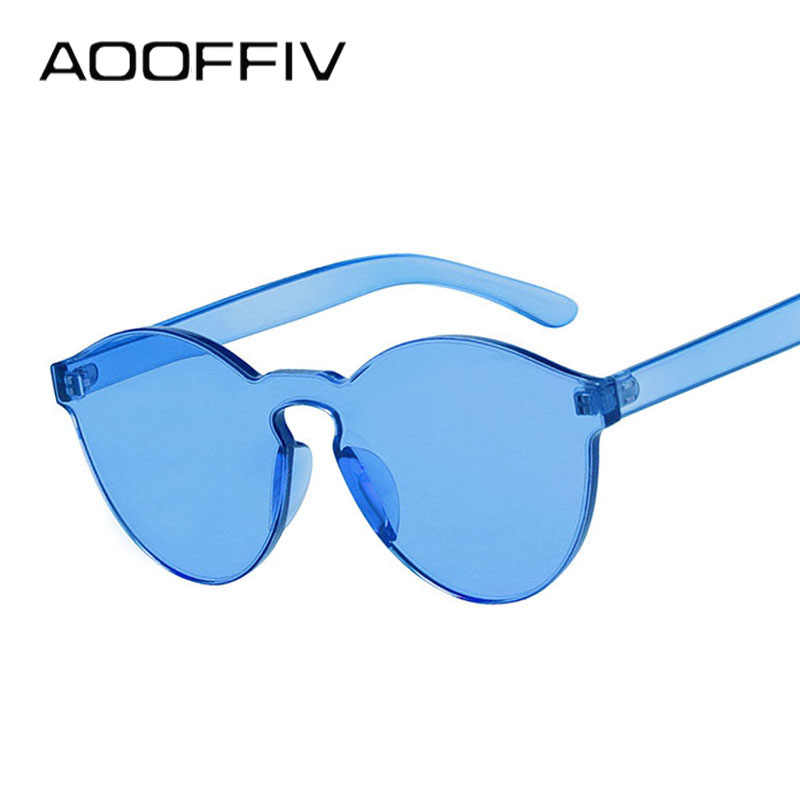 7366274f29bb ... AOOFFIV Colorful Glasses One Piece Transparent Candy Color Tinted  Eyewear Sun protection Ladies Goggles UV400 Sunglasses ...