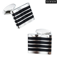 HAWSON Irregular Cufflinks Black Stripe Personalized Cufflinks Free Shipping
