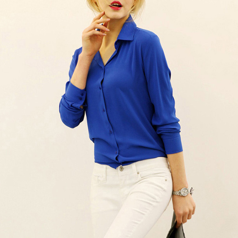 Women   Blouses   Direct Selling Button Solid 2019 Autumn New Long-sleeve   Shirt   Female Chiffon Women's Slim Clothing