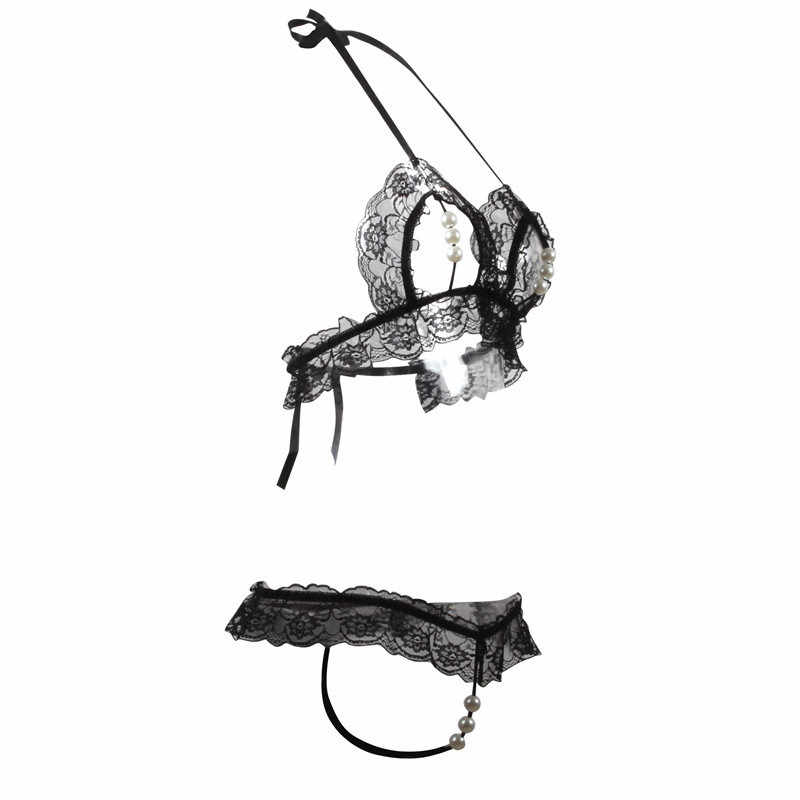 Sexy Lace Bra Set Transparent Underwear See Through Open Bra Halter Backless Lingerie Set Sexy Hot Erotic G string With Pearls