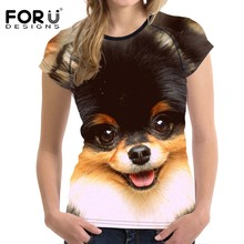 FORUDESIGNS Bodybuilding Slim Women Casual Fashion T Shirt Cute 3D Dog Animal Woman Short Sleeved Shirts Girl's Elastic Clothes