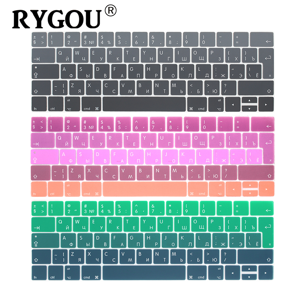 RYGOU EURO Russian Keyboard Stickers for Macbook Pro 13 touch bar Silicone Keyboard Cover for Macbook Pro 15 2016 Skin Protector-in Keyboard Covers from Computer & Office