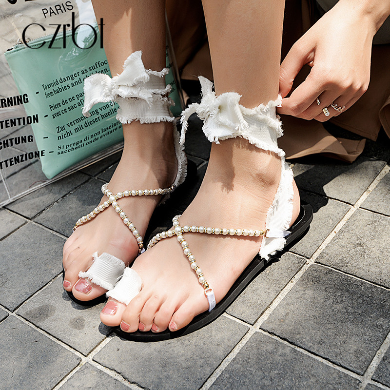 Fesselriemen Lässig Frauen Strand Gladiator Schuhe Sommer Sandalen Czrbt Black Hochwertigem white Perle Flache Baumwollgewebe dCTvUWWcn
