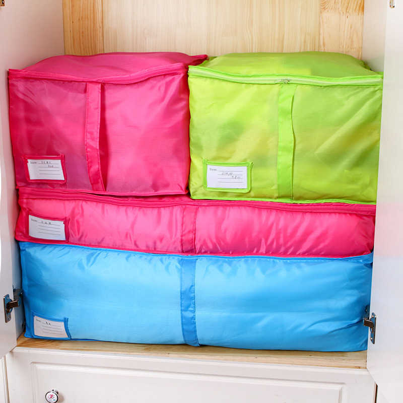 3 Size Home Storage Bag Clothes Quilt Bedding Duvet Storage Pouch Zipped Handle Portable Travel Pillow Blanket Laundry Organizer
