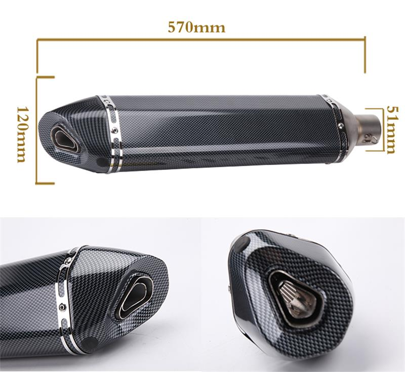 57mm total length Large displacement Universal Motorcycle Exhaust Modified Muffler Pipe for Honda Yamaha  Kawasaki 250 Z800 Z750 universal modified 61mm motorcycle modified muffler exhaust pipe carbon fiber exhaust large displacement