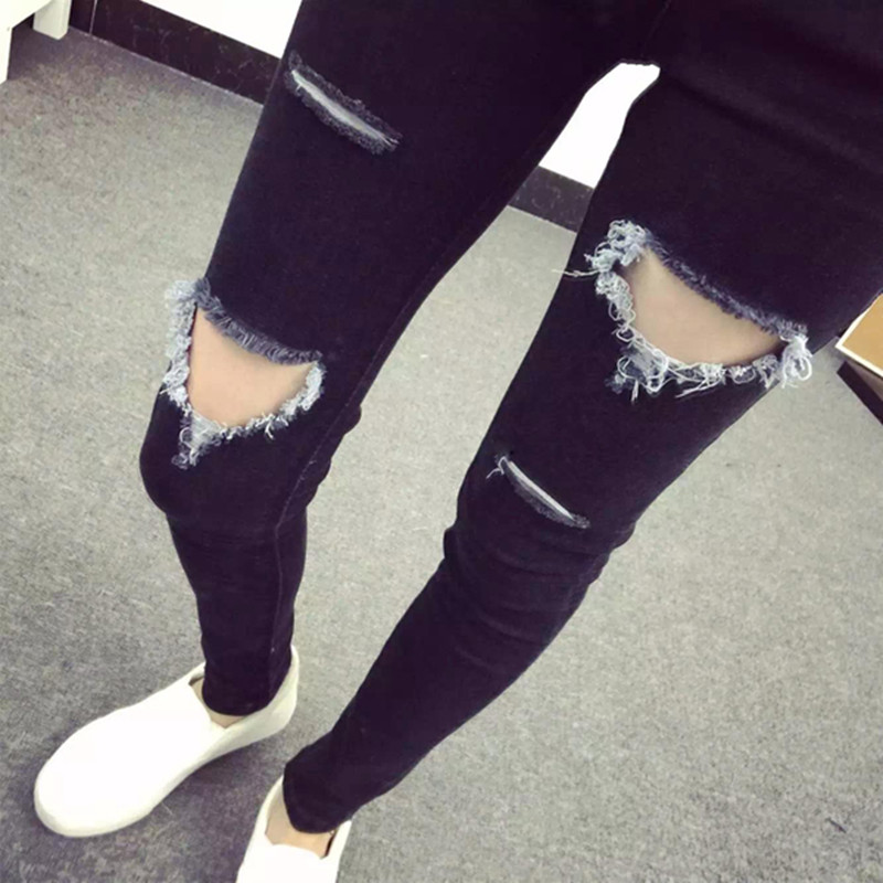 2017 spring and summer high quality hot style super thin stretch hole water wash jeans small foot pencil pants girl jeans woman