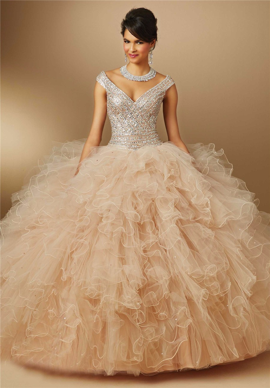 Champagne-15-years-Ball-Gowns-Quinceanera-Dresses-with-Silver-Beading-Crystal-2016-V-Neck-New-Fashion